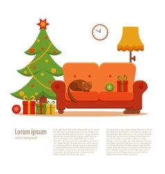 Christmas room interior vector