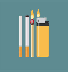 cigarette match and lighter vector image