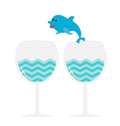 Cocktail drink glasses and jumping dolphin Isolate vector