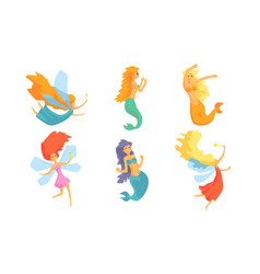 collection cute mermaids and beautiful fairies vector image