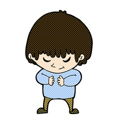 Comic cartoon shy boy vector