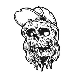 cool zombie spooky silhouette vector image