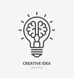creative idea flat line icon brain in lightbulb vector image