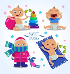 cute baby set vector image