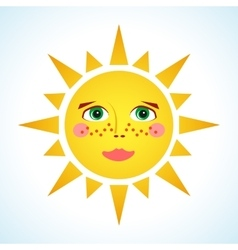 Cute smiling sun vector image