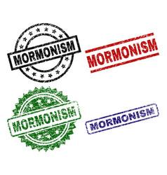 Damaged textured mormonism stamp seals vector