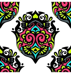Damask seamless abstract ikat medallion hand dawn vector