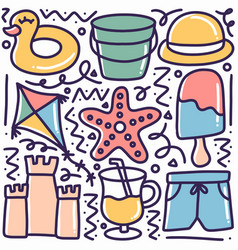 Doodle depicting hand-drawn beach tools vector