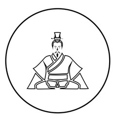 Emperor of china icon black in circle outline vector