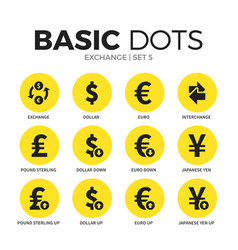 exchange flat icons set vector image