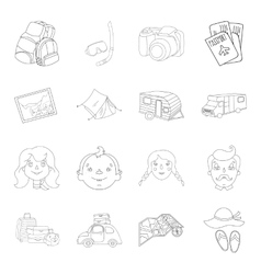 Family holiday set icons in outline style big vector