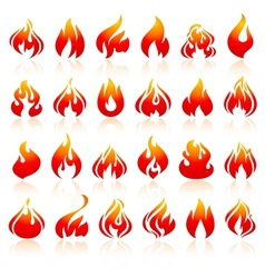 fire flames set orange icons with reflection vector image