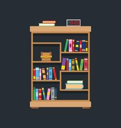 flat design library bookshelf vector image