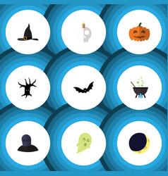 Flat icon celebrate set of witch cap cranium vector