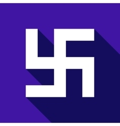 Flat Swastika icon with long shadow vector image