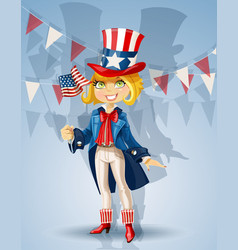 Girl in a suit uncle sam vector