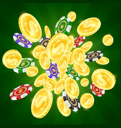 Gold coins and colored casino chips vector