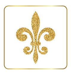 Golden fleur-de-lis heraldic emblem 3 vector image