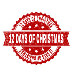 grunge textured 12 days of christmas stamp seal vector image