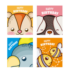 Happy birthday to you cards animal cartoon vector