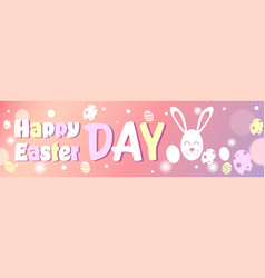 happy easter day horizontal poster design with vector image