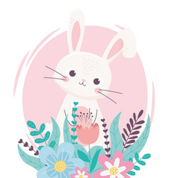 happy easter lovely rabbit with flowers foliage vector image