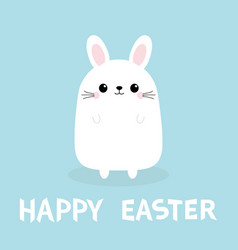happy easter white bunny rabbit funny face head vector image