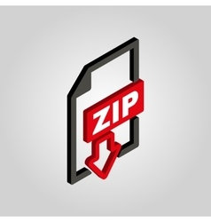 He zip file icon3d isometric archive compressed vector