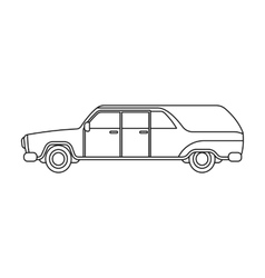 Hearse icon in outline style isolated on white vector