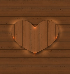 Heart for Valentine Day on wooden texture vector