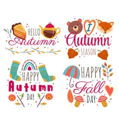 hello autumn decorative label isolated set vector image