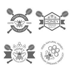honey set of monochrome emblems vector image