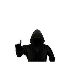 Hooded man hacker isolated on a white background vector