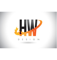 Hw h w letter logo with fire flames design and vector