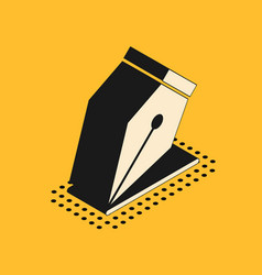 Isometric fountain pen nib icon isolated on yellow vector