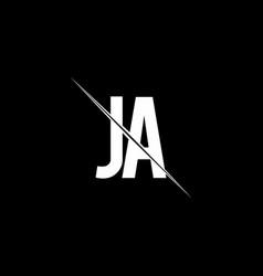 ja logo monogram with slash style design template vector image