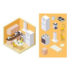 kitchen isometric dinner room interior vector image