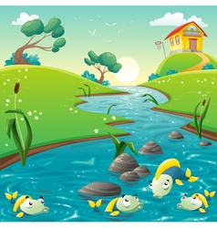 Landscape with river and funny fish vector