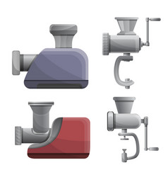 Meat grinder icons set cartoon style vector