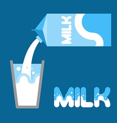 Milk Pour milk into a glass from packaging Milk vector image