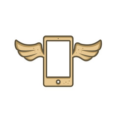 Mobile phone with angel bird wing vector