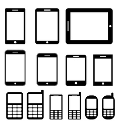 Mobile phones and tablets set vector