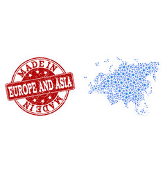 Mosaic map of europe and asia with cog integration vector