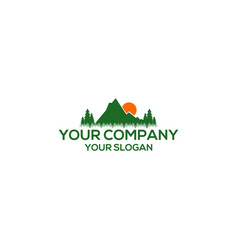 mountain sun grass logo nature vector image
