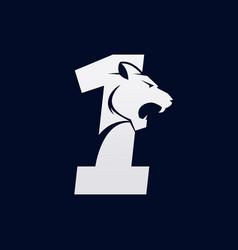 Number one tiger numeral predator logo design vector