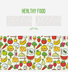 organic food concept with thin line icons vector image