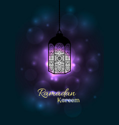 Ornate muslim lamp for the ramadan greeting card vector