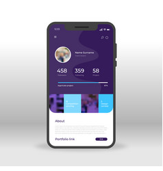 purple social network profile ui ux gui screen vector image