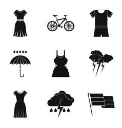 Rain clothes icon set simple style vector