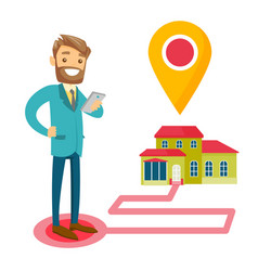 Real estate agent and house with map pointer vector